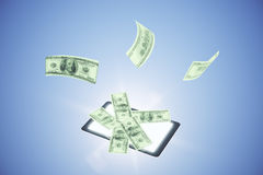 Money fly out of smartphone, online money concept Royalty Free Stock Image
