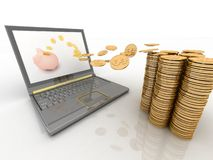 Money fly into your laptop Royalty Free Stock Photos