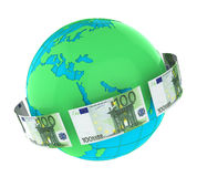 Money Flying Around the World. Isolated on white background. 3D render royalty free illustration