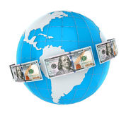 Money Flying Around the World Royalty Free Stock Photography