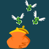 Money Flying Away. Dollar leaving the purse very quickly royalty free illustration