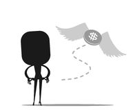 Money is flying away from sadness business woman. VECTOR, EPS10 Stock Photo