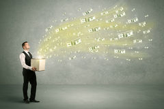 Money flying from box concept Stock Photo