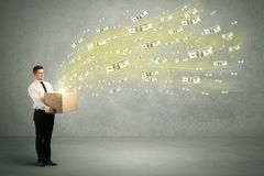 Money flying from box concept Royalty Free Stock Photo
