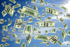 Money flying dollars Royalty Free Stock Photography