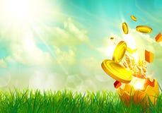 Money flying from an golden egg shells. Money flying from an golden Easter egg shells Stock Photo