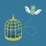Money flying out of cage birds Royalty Free Stock Photo