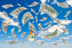 Money is flying in the sky. Stock Images