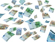 Money flying on white background. Money on white background,real photo of money currencies Royalty Free Stock Photo