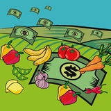 Money for Food. Illustration or flying lettuces and fruits between money Royalty Free Stock Photo