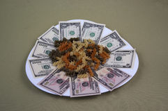 Money and the food on the plate, image 14. A series of photos. Money and the food on the plate royalty free stock photography