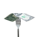 Money on fork Stock Photography