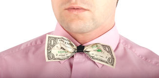 Money in the form of bow-tie Royalty Free Stock Photo
