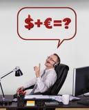 Money formula. Happy customer service representative dreaming at money formula Royalty Free Stock Photography