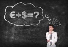 Money formula. Student is thinking about money formula on black background Stock Images