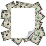 Money frames this blank page Stock Photography