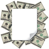 Money frames this blank page Royalty Free Stock Photo