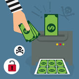 Money fraud and hacking design. Vector illustration Royalty Free Stock Photos
