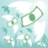 Money freedom. Money with wing  flying from town. money freedom.  illustration Royalty Free Stock Photos