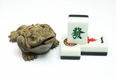 Money frog and mahjong Stock Photo