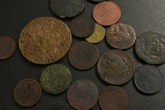 Money with old coins. royalty free stock photography