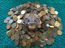 Money frog sitting on coins stock photo