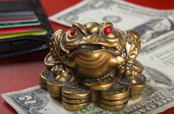 Money frog and two dollars. Royalty Free Stock Images