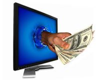 Money From Internet Royalty Free Stock Photography