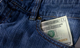 Money In Front Pocket Royalty Free Stock Photography