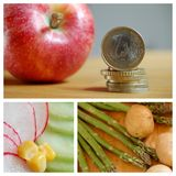 Money, fruits and vegetables Royalty Free Stock Photos