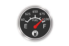 Money Fuel Gauge. Fuel Gauge Concept Showing The Raising Cost As You Fill Up - High Resolution Image Stock Image