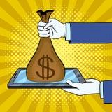 Money from gadget metaphor pop art vector. Money from gadget metaphor pop art retro vector illustration. Comic book style imitation Stock Photo