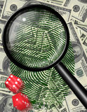 Money Gamble. Money  background with Dice and Magnifying Glass Stock Images