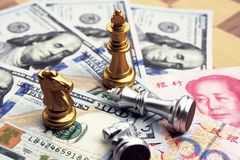 Money game. Chess game. Referring two big countries& x27;s conflict. Trade war royalty free stock image