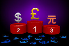 Money Games, Pound. A podium with different currencies and the euro defeated Stock Image