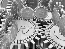 Money Gears. Silver Gears with Dollar Signs Royalty Free Stock Photo