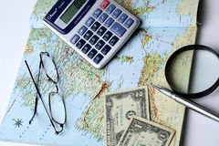 Money and geographical map Royalty Free Stock Images