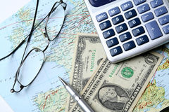 Money and geographical map Stock Image