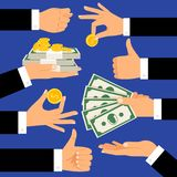 Money gestures. Hands holding money, dollars and coins Stock Photo
