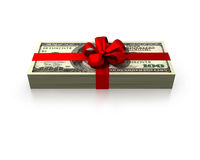 Money gift. 100 dollars wad gift  with a red ribbon isolated on white background Royalty Free Stock Image