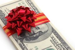 Money on gift Royalty Free Stock Photo