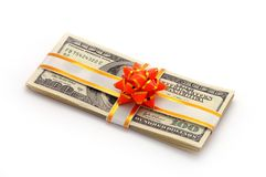 Money on gift Royalty Free Stock Image