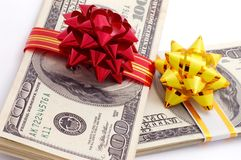 Money on gift Stock Photo