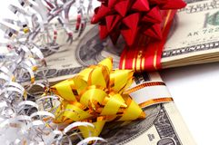 Money on gift Royalty Free Stock Photos