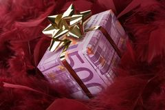 Money gift of 500 euro. Money gift box of 500 euro on a red background Stock Photos