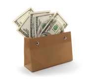 Money in a gift bag. Hundred dollar bills in a gift bag, isolated on white background Royalty Free Stock Photos