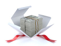 Money in the gift box Stock Photography