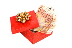 Money in gift box. Royalty Free Stock Photo