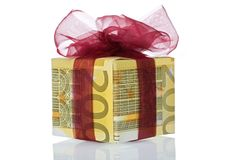 Money gift box of 200 euro. Isolated on a white background Royalty Free Stock Photography