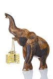 Money gift box of 200 euro. Carried by an elephant, isolated on a white background Stock Photography